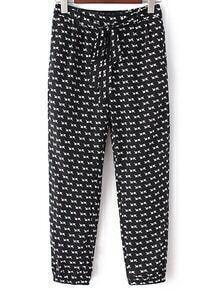 Black White Pockets Tie-Waist Bow Arrow Print Pants