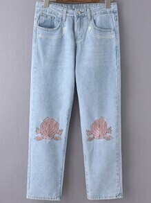 Light Blue Pockets Embroidery Denim Pants