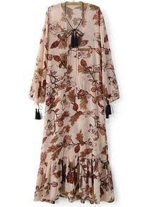 Pink Tie Neck Tassels Flowers Print Maxi Dress
