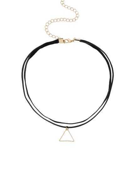 Triangle Pendant Double Layer Choker
