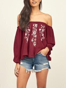 Burgandy Off-The-Shoulder Embroidery Swing Top