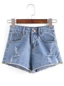 Ripped Raw Hem Blue Denim Shorts