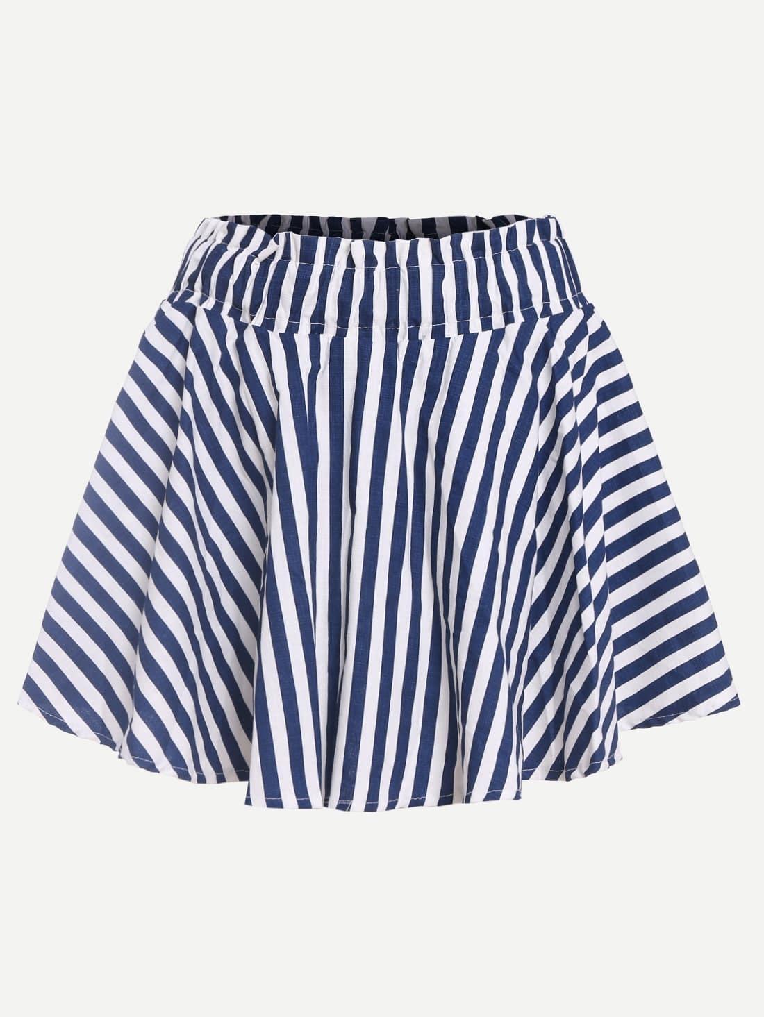 blue white striped a line skirt