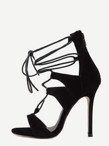 Sandales à talon aiguille bout ouvert avec lacets - noir