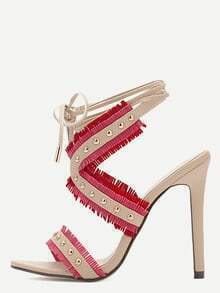 Red Open Toe Cutout Fringe Studded Stiletto Pumps