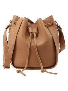 Embossed Faux Leather Drawstring Bucket Bag - Brown