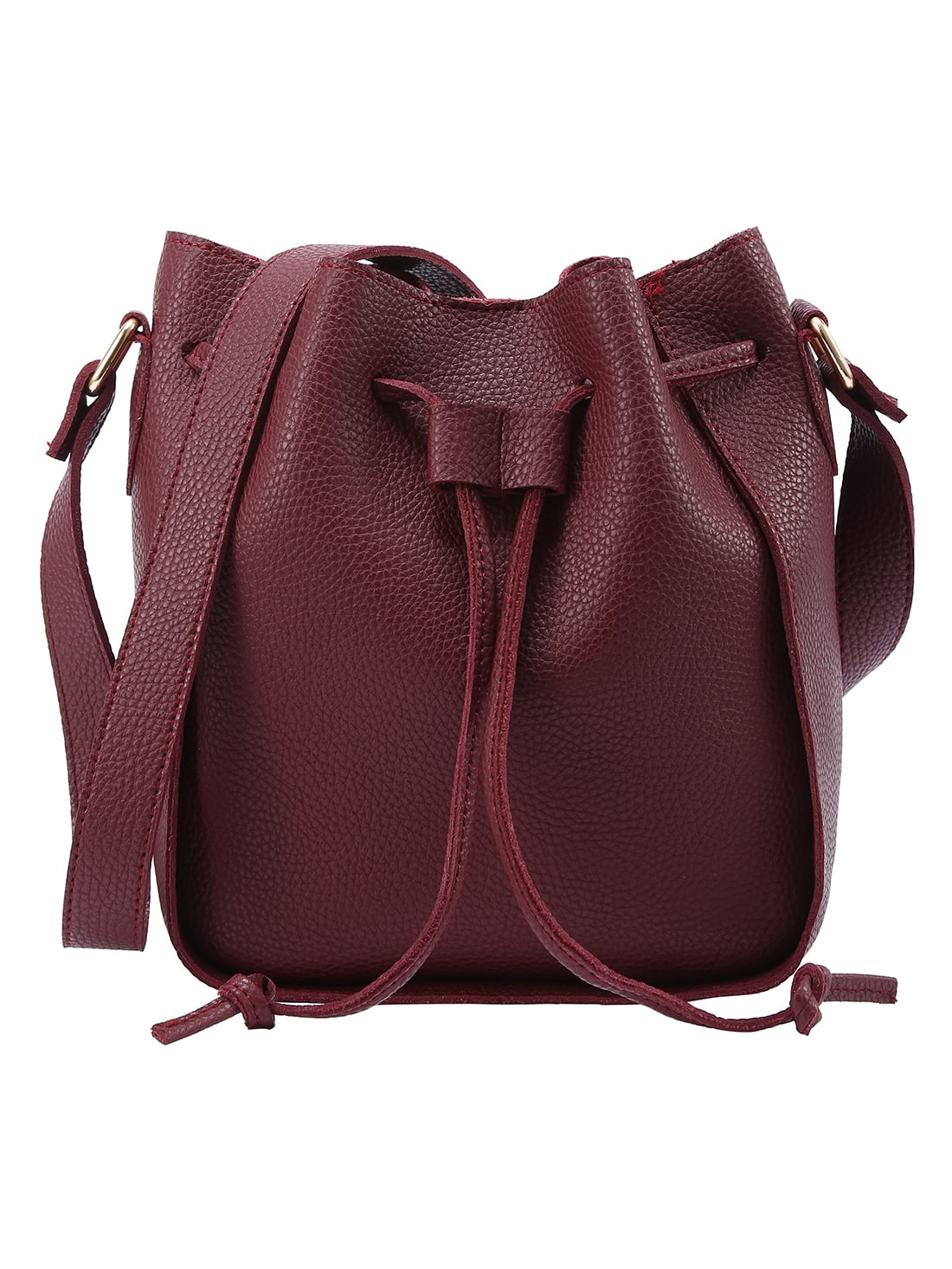 Embossed Faux Leather Drawstring Bucket Bag - Burgandy
