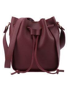 Embossed Faux Leather Drawstring Bucket Bag - Burgundy