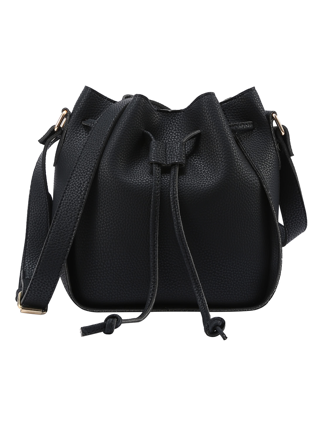 Embossed Faux Leather Drawstring Bucket Bag - Black
