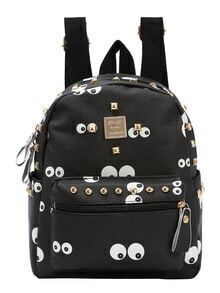 Faux Leather Studded Eye Print Backpack