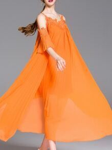 Orange Spaghetti Strap Backless Pleated Maxi Dress