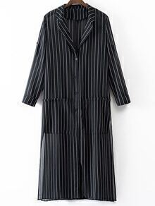 Black Buttons Front Vertical Stripe Chiffon Blazer
