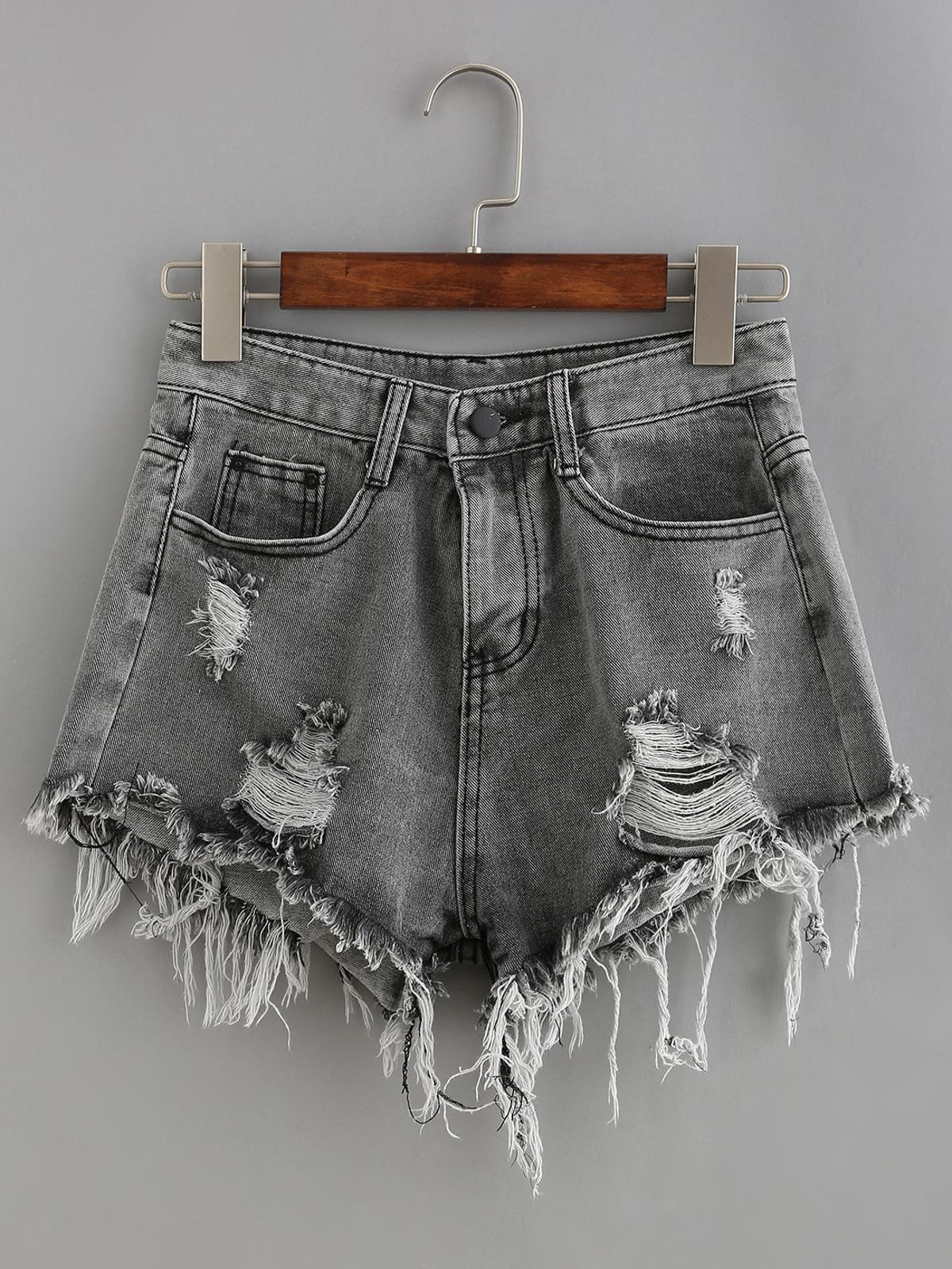 磨損的 灰色 牛仔布 短褲