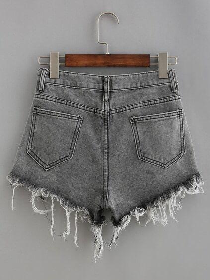 Frayed Grey Denim Shorts