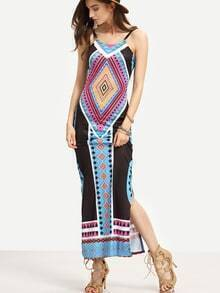 Backless Tribal Print Long Cami Dress