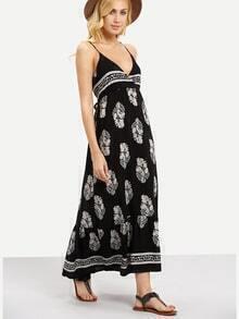 Surplice Front Flower Print Cami Dress