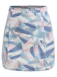 Geometric Print A-Line Skirt