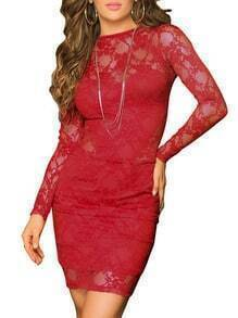 Backless Long Sleeve Red Lace Dress