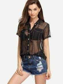 Short Sleeve Sheer Blouse With Pockets