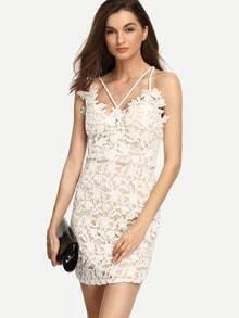 Spaghetti Strap Lace Crochet Bodycon Dress