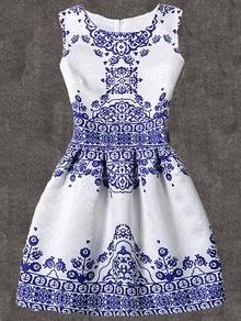 Robe évasée vintage imprimé sans manche -bleu