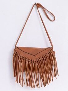 Faux Leather Fringe Flap Bag - Brown