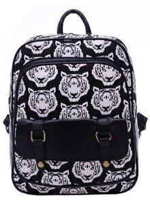 Black White Tiger Print Canvas Backpack