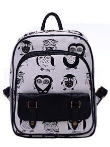 Black White Owl Print Canvas Backpack