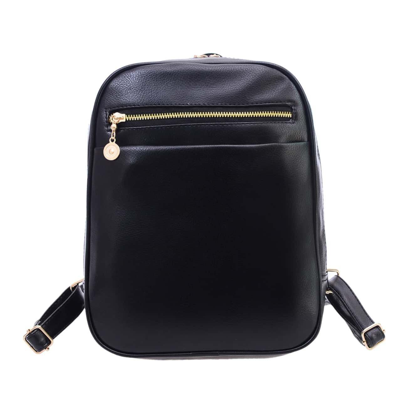 sac dos en similicuir avec zip noir french romwe. Black Bedroom Furniture Sets. Home Design Ideas