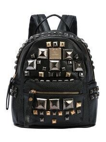 Black Embossed Faux Leather Studded Backpack