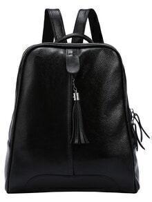 Black Embossed Leather Tassel Trimmed Backpack