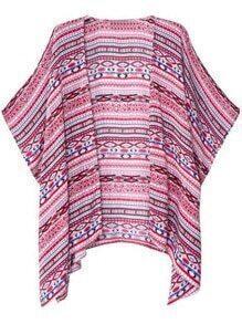 Multicolor Batwing Sleeve Print Cardigan Kimono