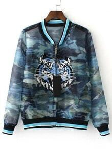 Multicolor Camouflage Print Tiger Embroidery Jacket