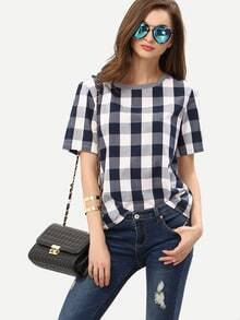 White Royal Blue Check Round Neck T-shirt