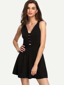 Black Plunge Neck Caged Skater Dress
