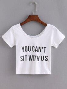 Letter Print White Crop T-shirt