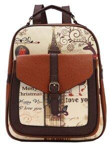 Color Block Vintage Print Structured Backpack