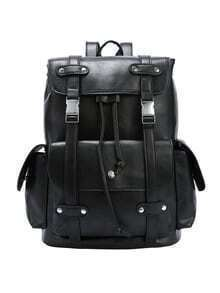 Black Dual Buckled Strap Flap Backpack
