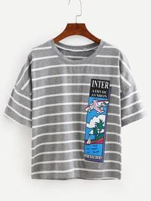 Grey Striped Graphic Print T-shirt
