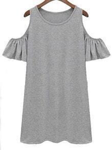 Vestido de manga de volante con corte en el hombro -gris
