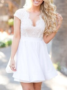 Cutout Back White Lace 2 IN 1 Dress
