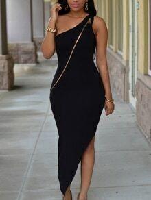 Black One-Shoulder Zip Embellished Asymmetric Dress