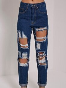 Destroyed Blue Straight Jeans