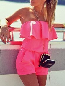 Ruffled Off-The-Shoulder Hot Pink Romper
