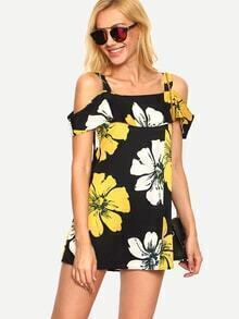 Cold Shoulder Florals Ruffle Dress