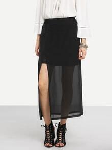 Slit Layered Chiffon Skirt