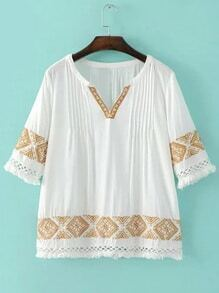 White Half Sleeve Fringe Tirm Embroidery Blouse
