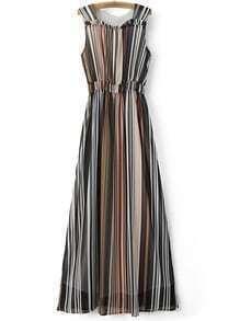 Multicolor Sleeveless Elastic Waist Stripe Maxi Dress