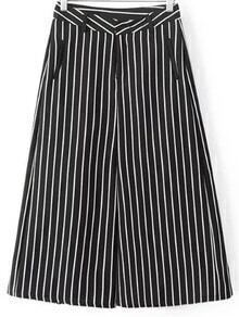 Black White Pockets Stripe Wide Leg Pants