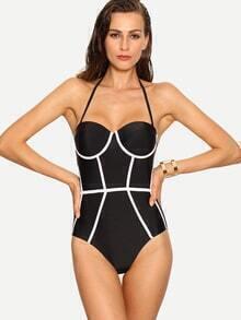 Contrast Binding One-Piece Swimwear - Black